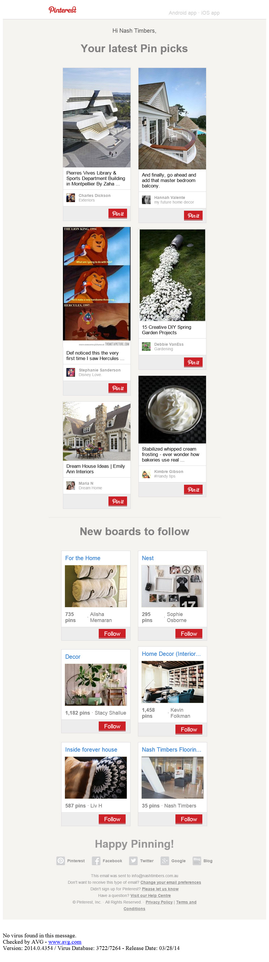 Pinterest email
