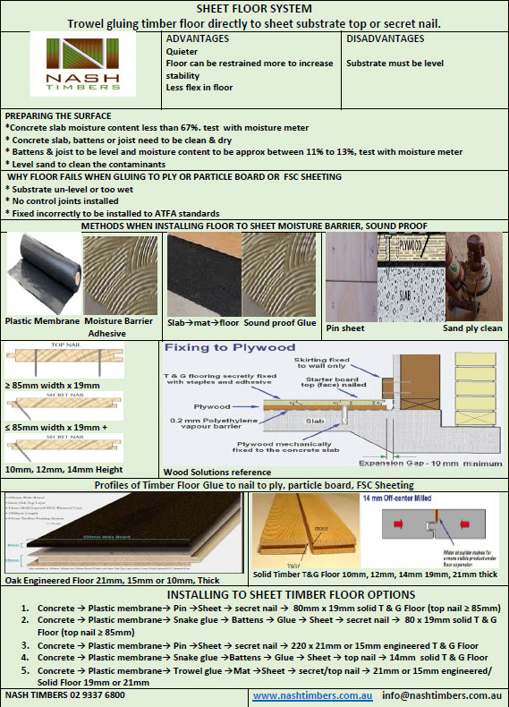 SHEET FLOOR SYSTEM Trowel gluing timber floor directly to